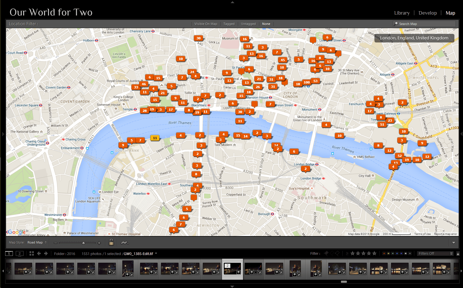 The map module of Adobe Lightroom with all the locations tagged