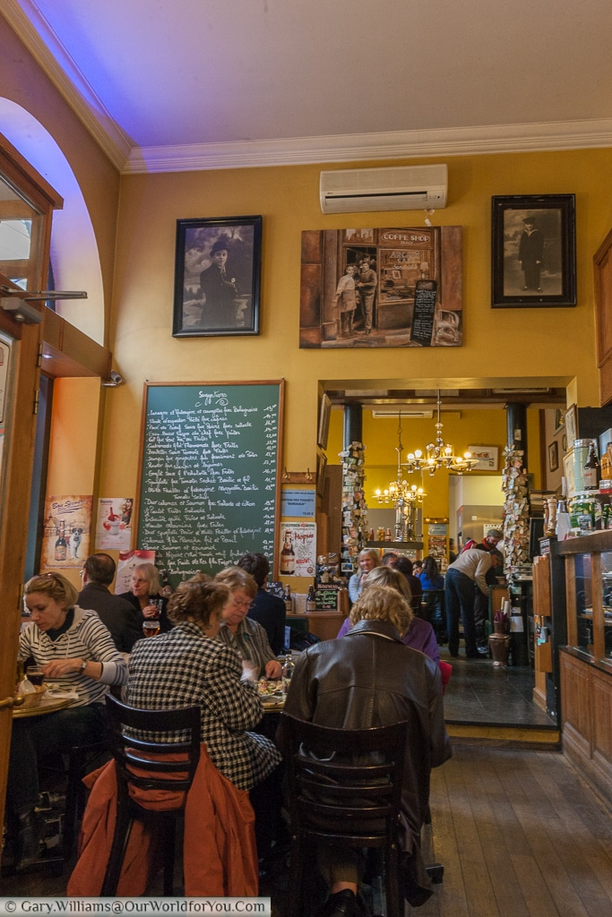 A typical bustling brasserie in Brussels, Belgium