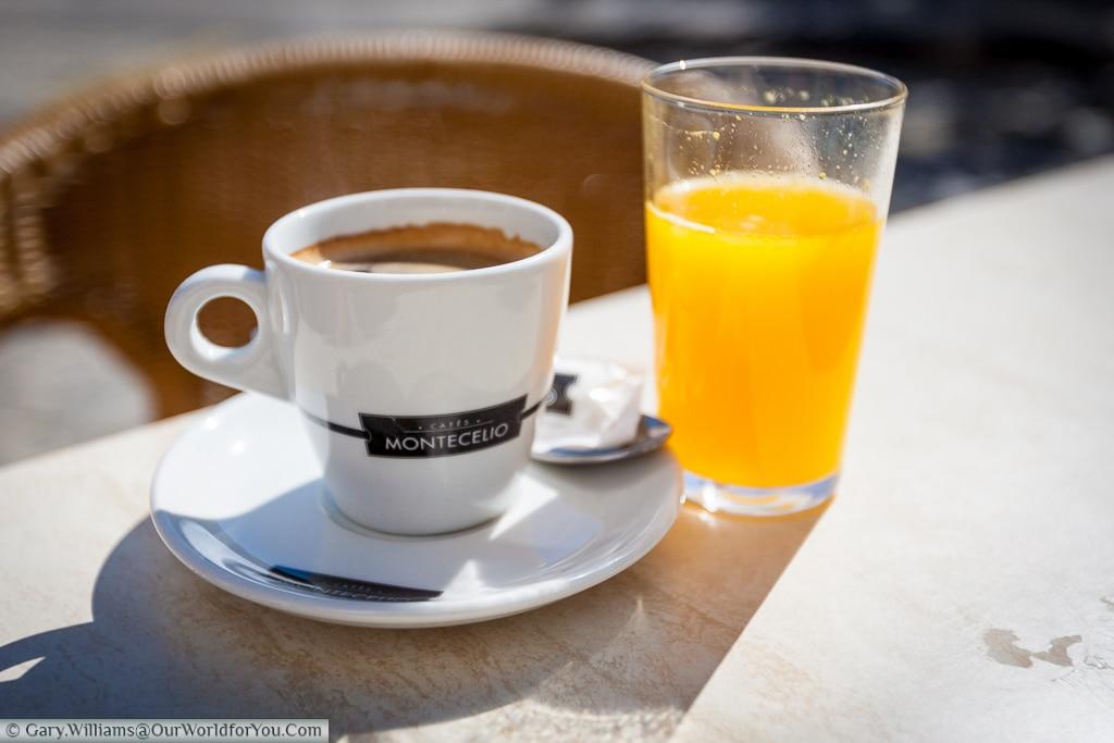 A fresh coffee & orange juice, Valencia, Spain