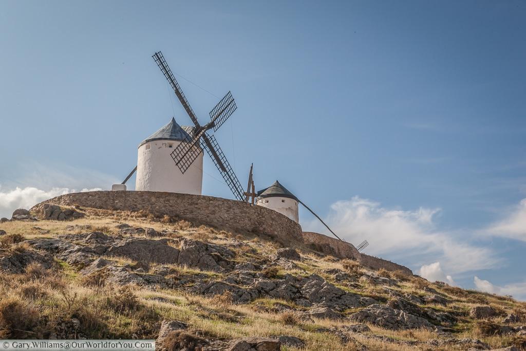 A pair of windmills overlooking Consuegra, La Mancha, Spain