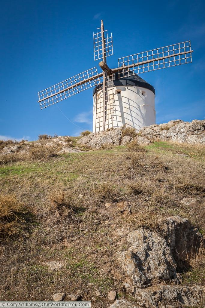 A solitary windmill overlooking Consuegra, La Mancha, Spain