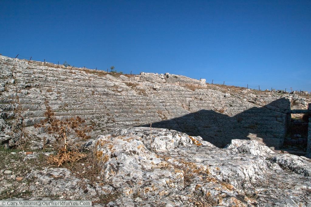 A Roman Amphitheatre, Acinipo Roman Theatre, Ronda, Andalucia, Spain