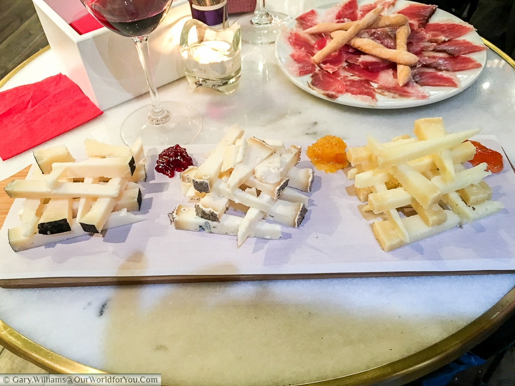 Cheese, ham & wine at Colmado LaLola, Valencia, Spain
