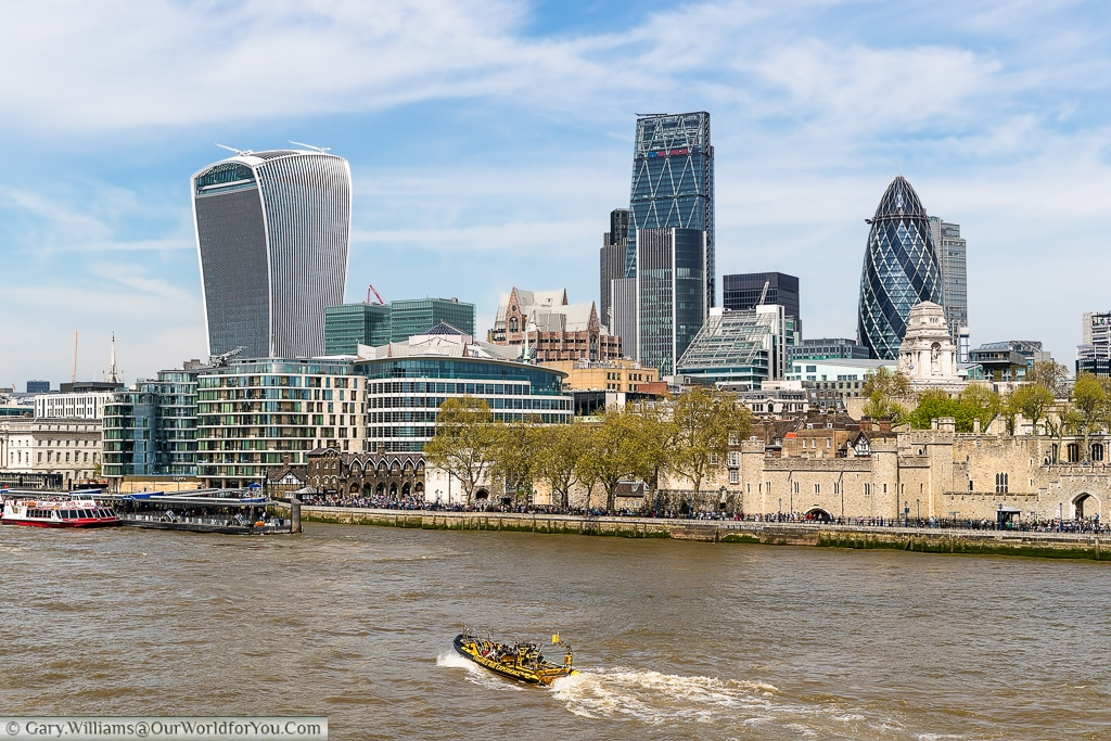The modern skyline of the City of london dominated by the likes of the 'Walkie-Talkie', 'Cheese-Grater' & the Gherkin to name but a few, London, England, UK