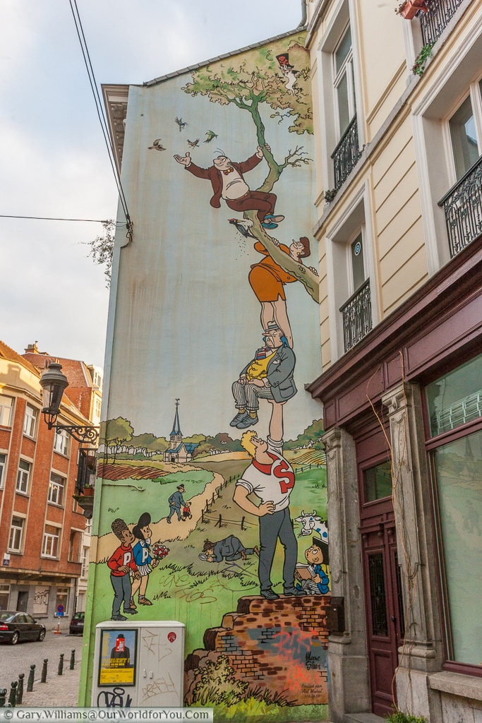 Comic-strip street art, Brussels, Belgium