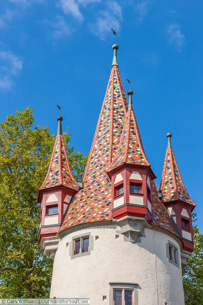 The Diebsturm or jail, tower on Lindau Island, Lake Constance, (Bodensee,) Germany.