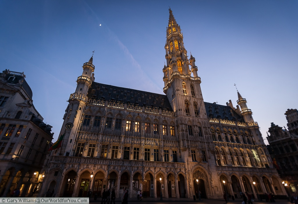 Brussels townhall, another imposing neo-gothic structure in the Grand Place, Brussels, Belgium