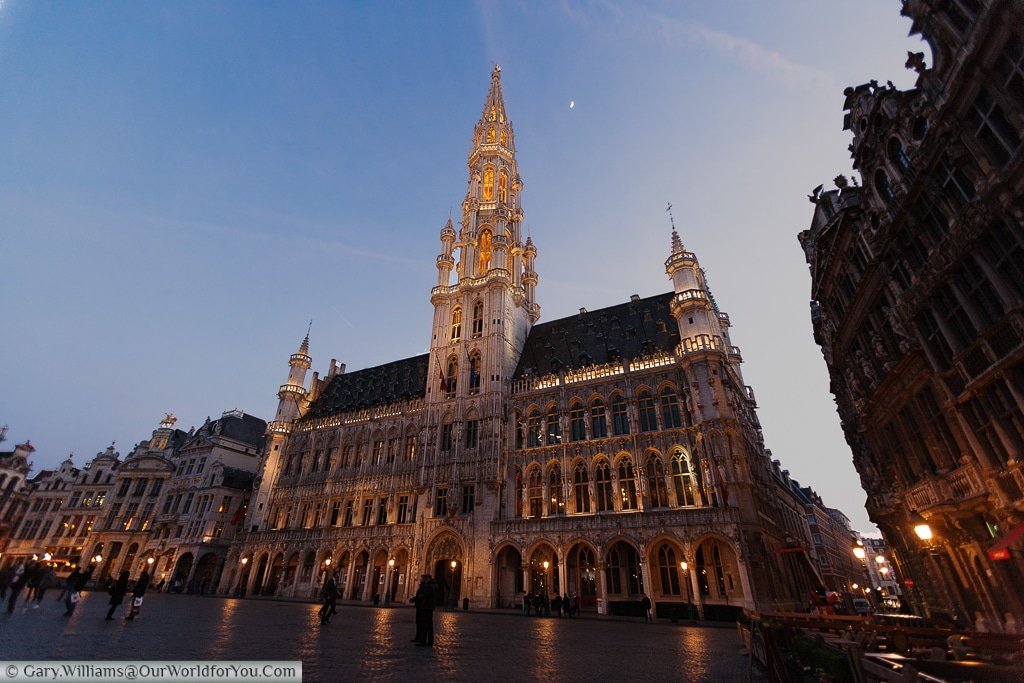 The Hotel de Ville at dusk in the Grand Place, Brussels, Belgium