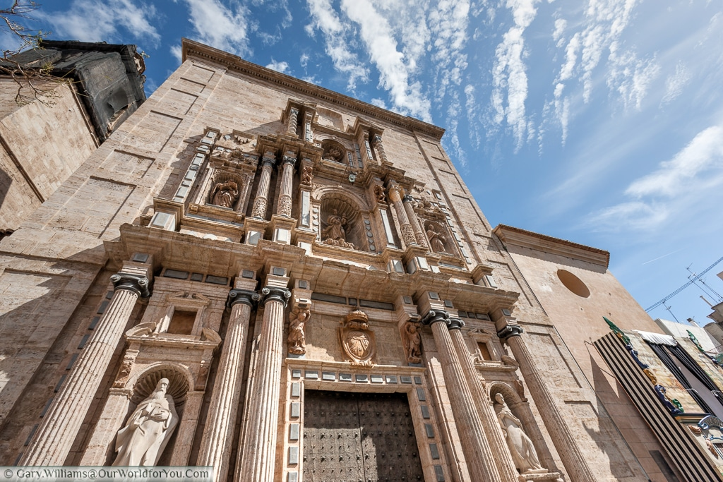 Looking up at the stunning facade of the Iglesia del Carman, Valencia, Spain