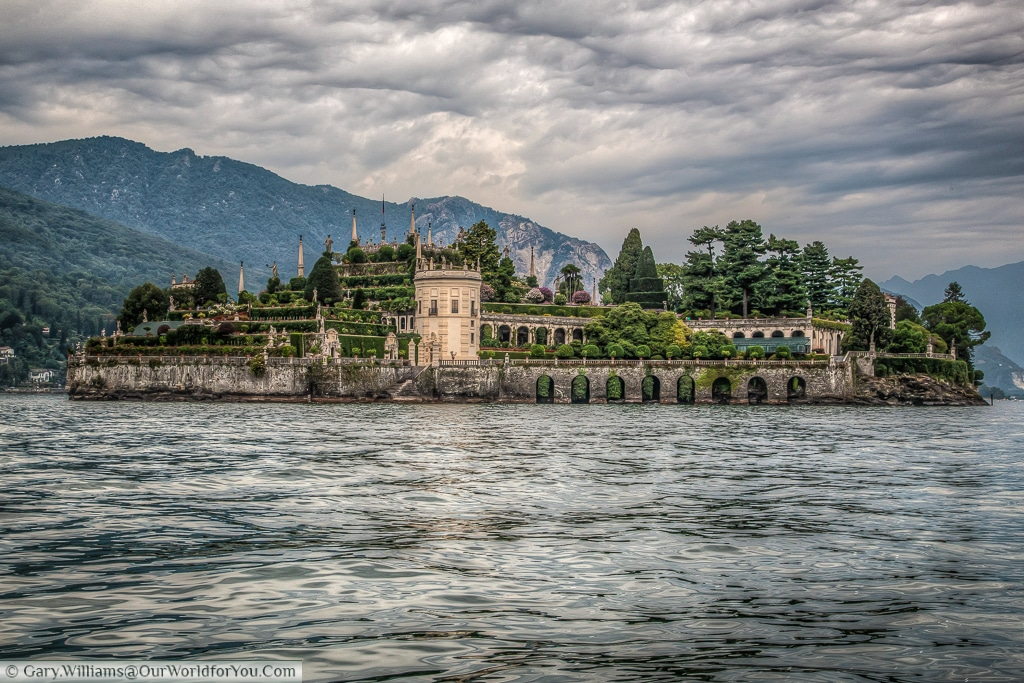 The view of Isola Bella, part of the Borromean Islands, from the ferry on Lake Maggiore, Italy