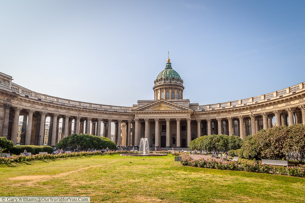 The view of the Kazan Cathedral from Nevsky Prospect, St Petersburg, Russia