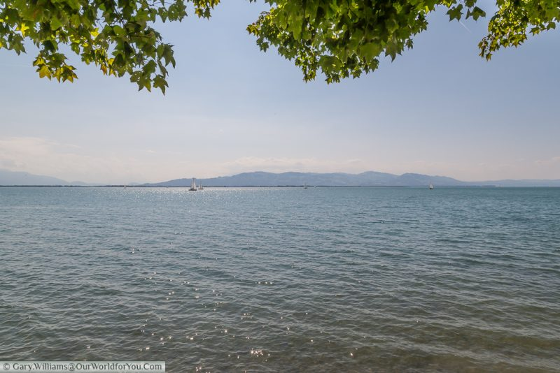 The view of of Lake Constance (Bodensee) from Lindau Island, Germany.