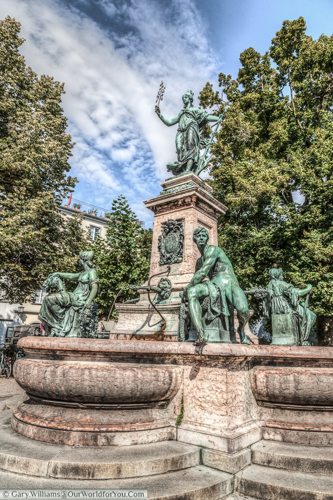 The Lindavia Fountain (Lindaviabrunnen) in Lindau Island on Lake Constance, (Bodensee,) Germany