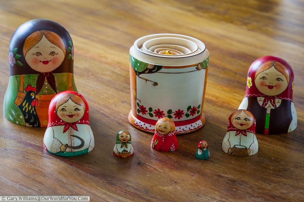 The family group of Matryoshka Dolls now stacked.
