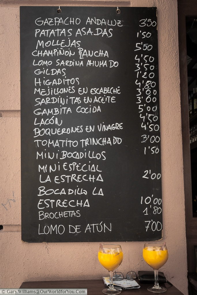 The tapas menu board at Tasquita La Estrecha, Valencia, Spain