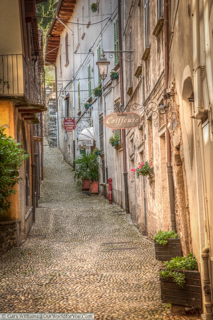 A cobbled lane in Orta San Giulio , Lake Orta, Italy