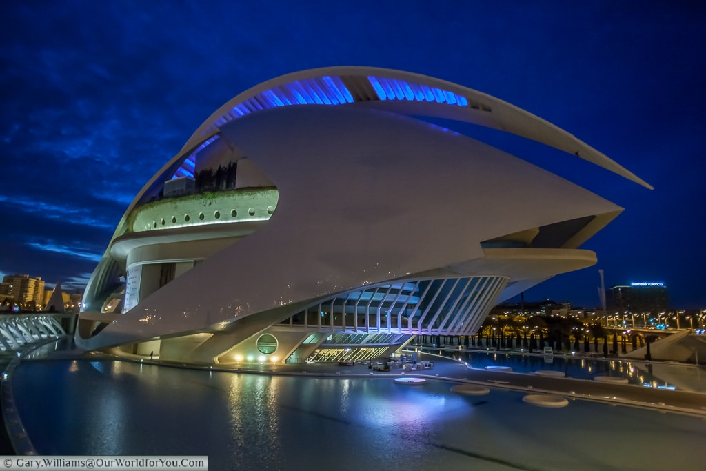 Palau de les Arts Reina Sofía just after dusk, Valencia, Spain