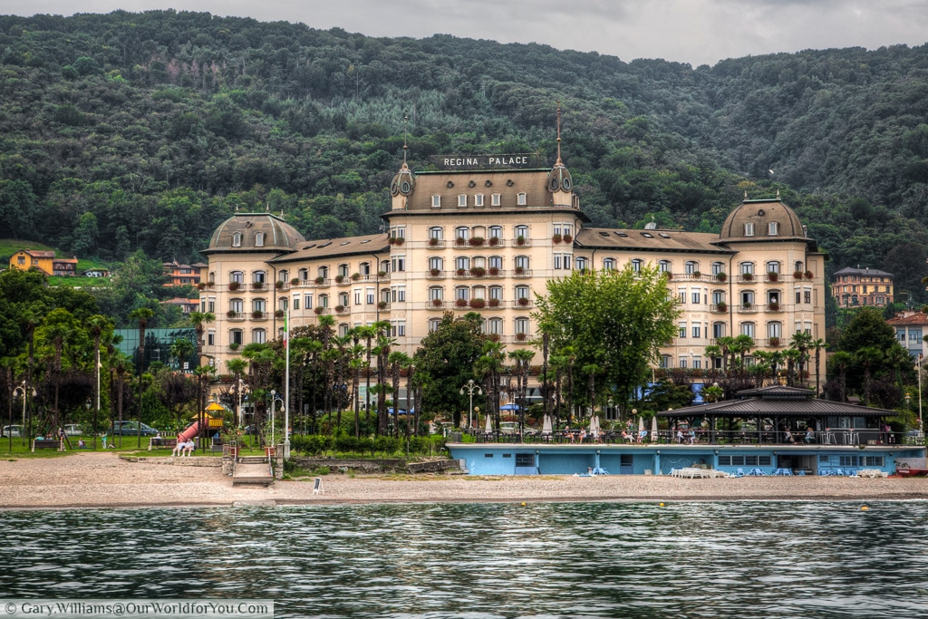 The Regina Palace Hotel, Stresa, as seen from Lake Maggorie, Italy