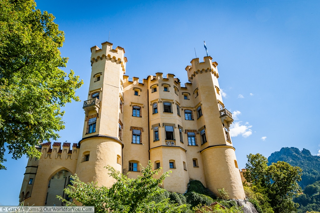 The side view of Schloss Hohenschwangau, Hohenschwangau, Bavaria, Germany