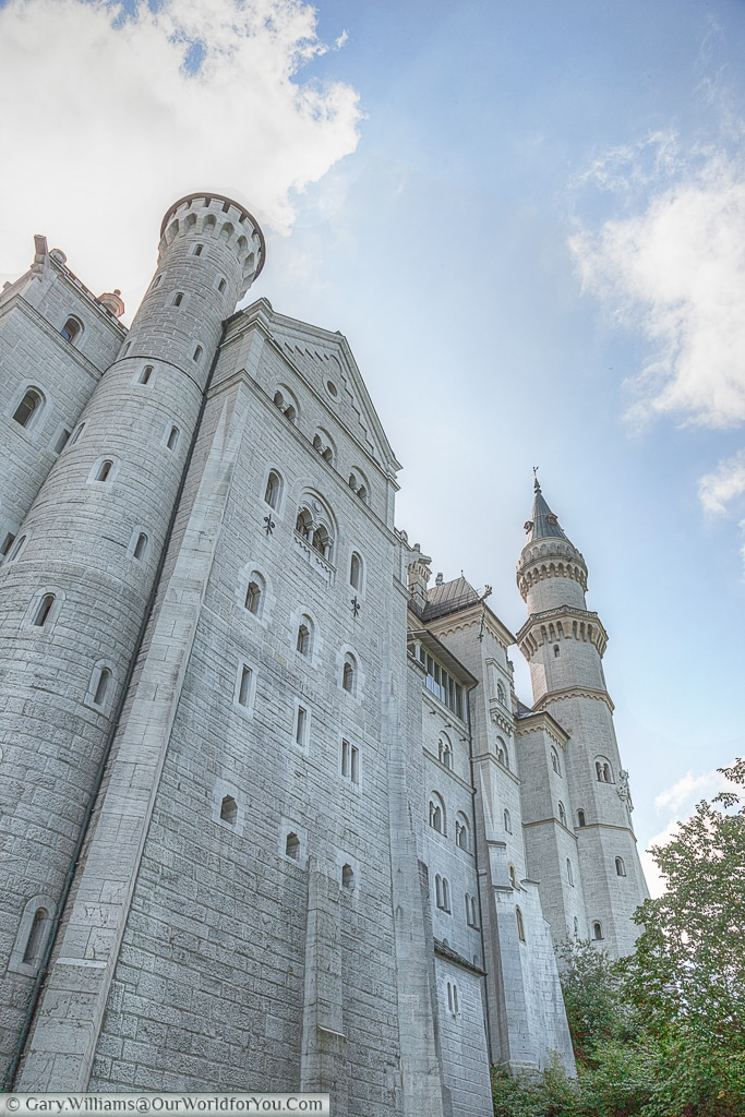 A close view looking up at Schloss Neuschwanstein, Hohenschwangau, Bavaria, Germany