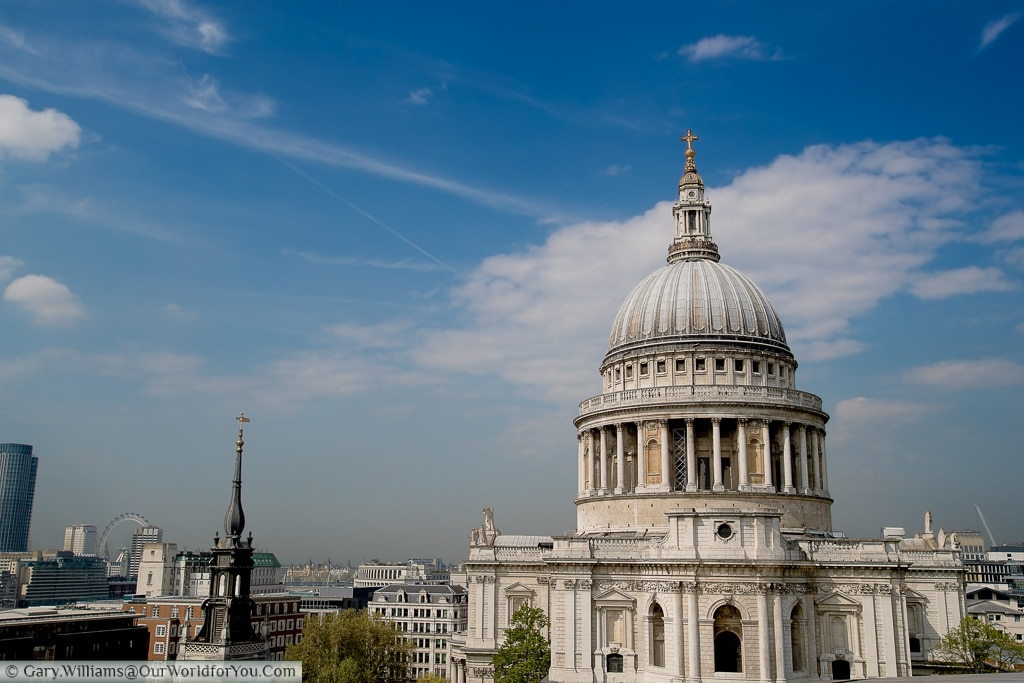 The view from One New Change of St Paul's Cathedral with the London Eye in the Distance, London, England, UK