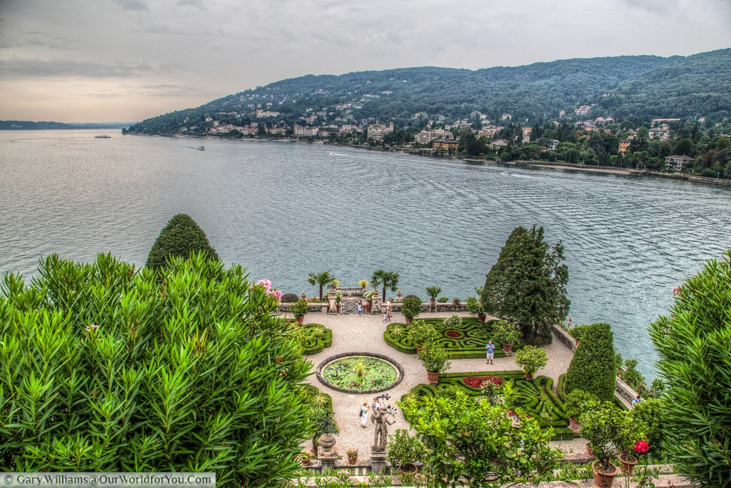 The view of Stresa from Isola Bella over the gardens of the palazzo, Lake Maggiore, Italy