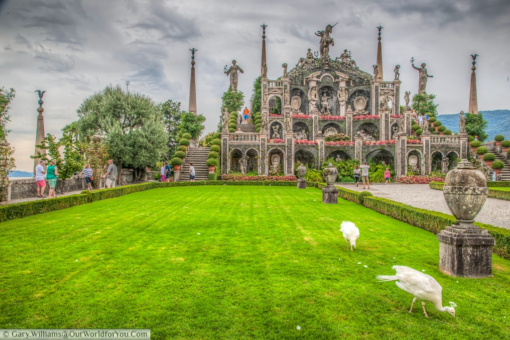 Teatro Massimo with the white peacocks  on Isola Bella, Borromean Islands, Lake Maggiore, Italy