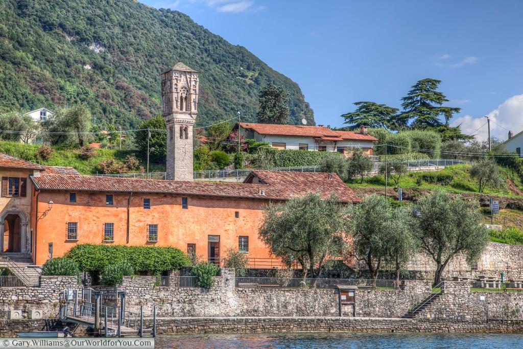 The Bell tower of Saint Maria Maddalena, Ossuccio, Lake Como, Italy