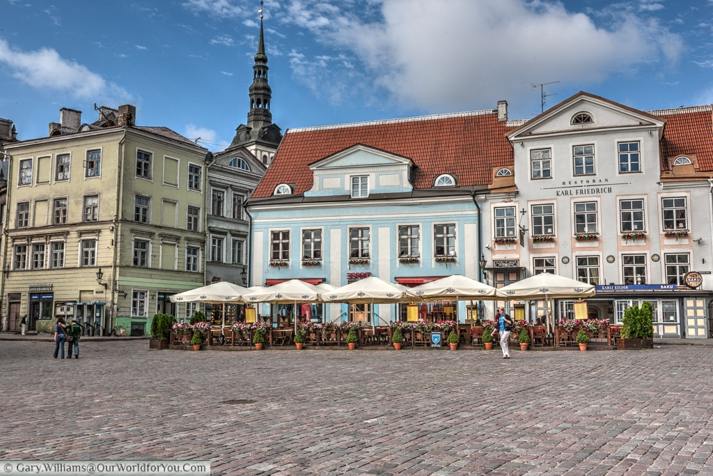 One of the many bars that line the old town hall square in Tallinn, Estonia