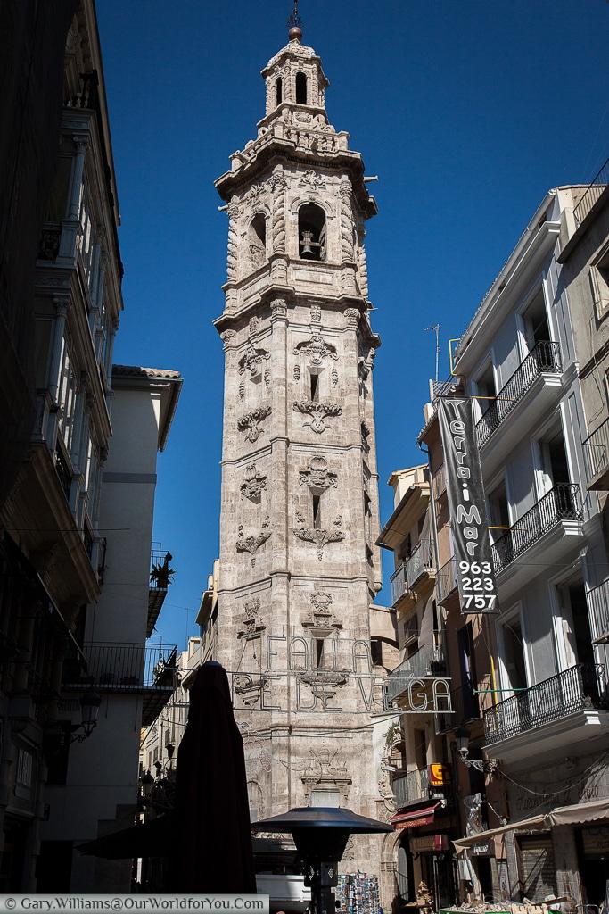 The bell tower of Iglesia de Santa Catalina, Valencia, Spain