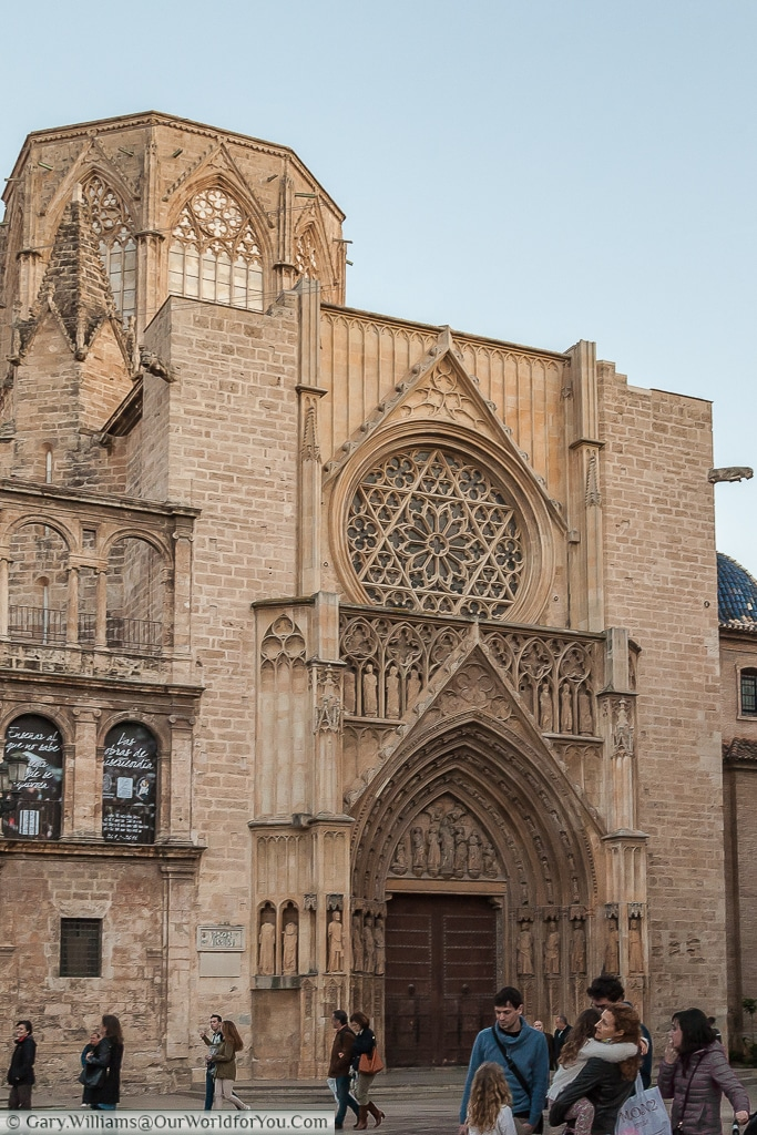 The gothic entrance to the Cathedral in Valencia, Spain