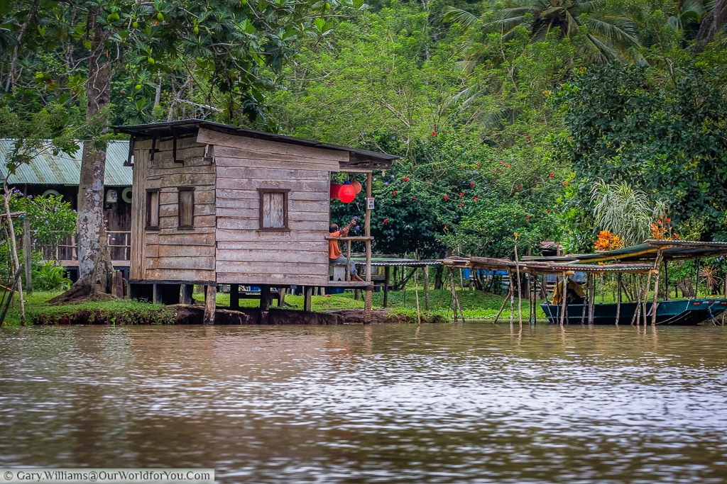 A small raised hut on the water edge on the journey to Tortuguero, Costa Rica