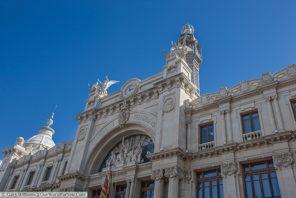 The old Central Post Office just off Plaza del Ayuntamiento, Valencia, Spain