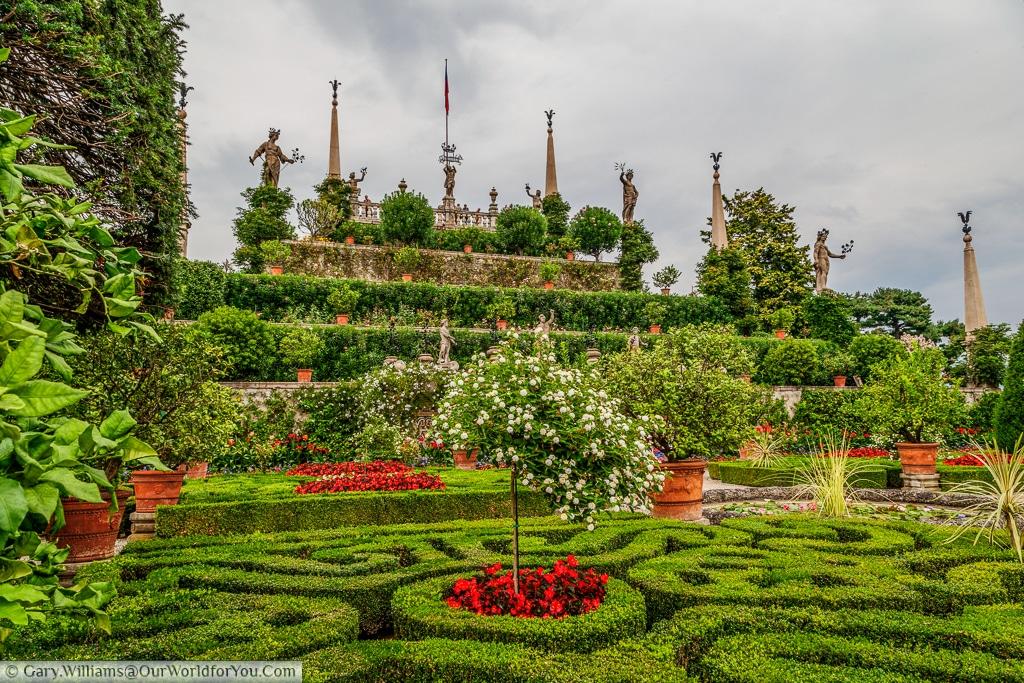 The terraced gardens at Isola Bella, Lake Maggiore, Italy