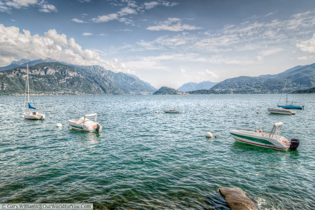 The view from Menaggio, with Bellagio in the distance, Lake Como, Lombardy, Italy