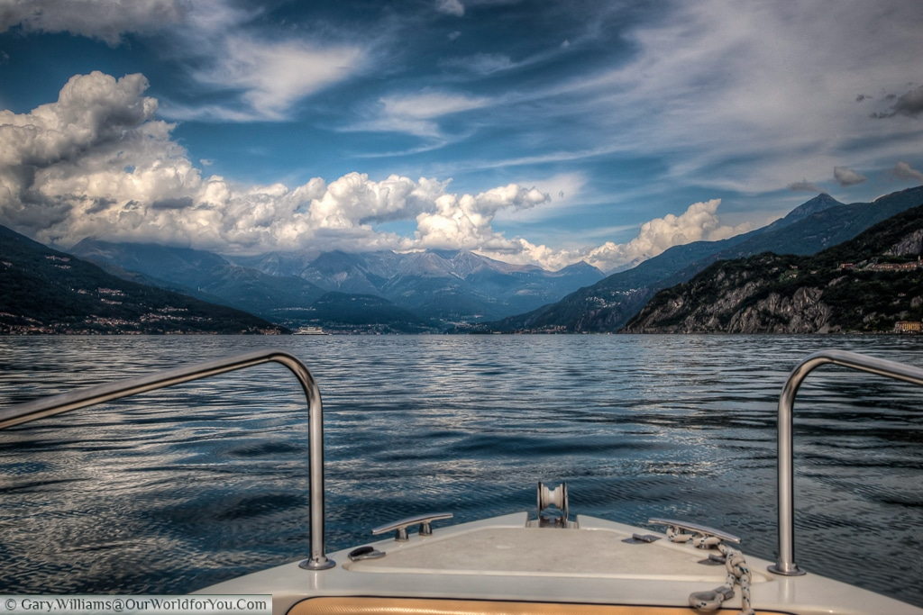 The view of the bow, looking north up the lake. Lake Como, Italy