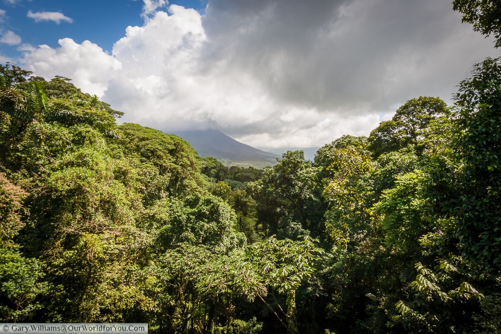 The view of the volcano from one of the many crossings at the Mistico Arenal Hanging Bridges Park, Costa Rica