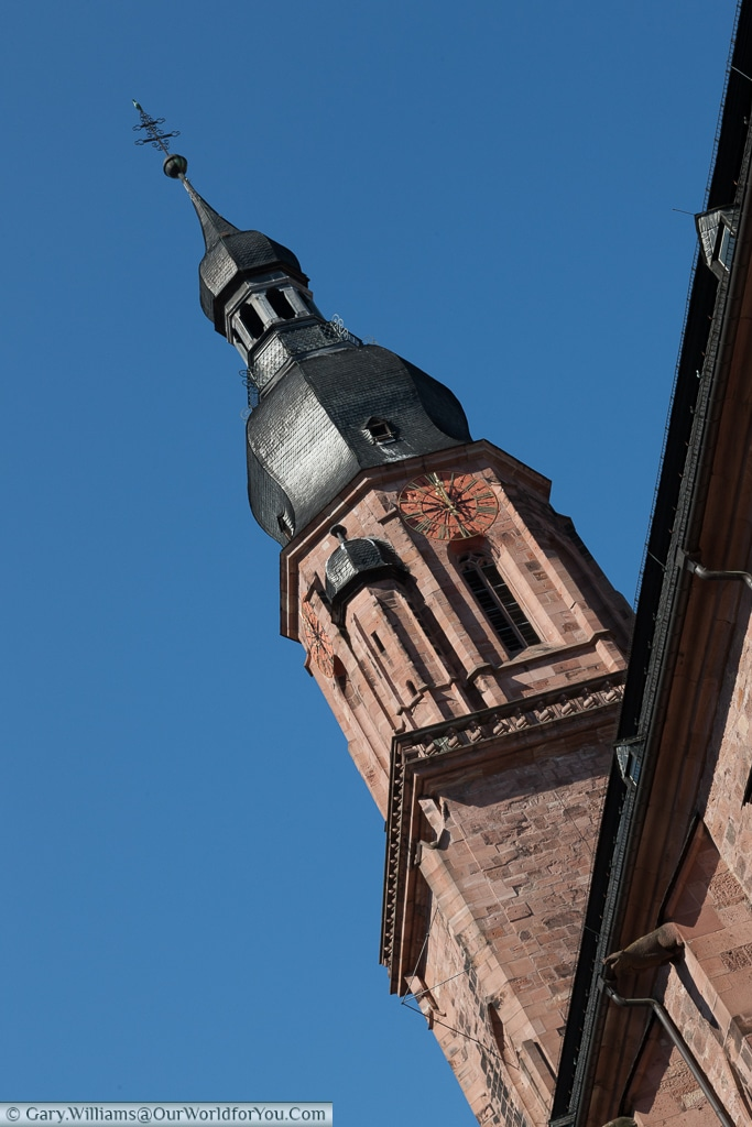 Tower of the Church of the Holy Spirit, Heidelberg, Baden-Wurttemberg, Germany