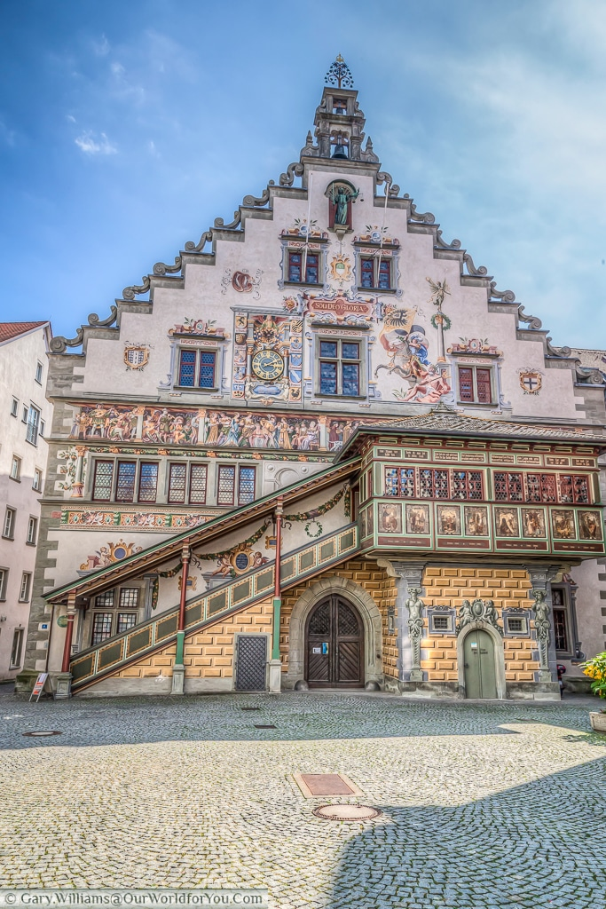 The Altes Rathaus from Bismarckplatz in Lindau Island on Lake Constance, (Bodensee,) Germany.