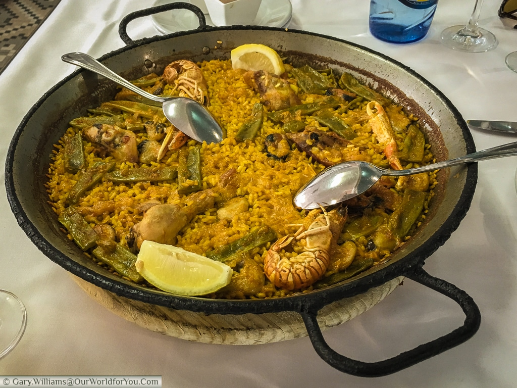Traditional Paella from La Pepica, Valencia, Spain