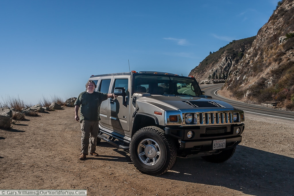 Gary and the Hummer, just off Pacific Highway One
