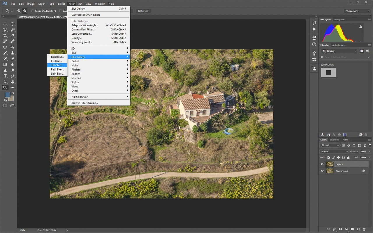 The select Tilt-Shift filter option
