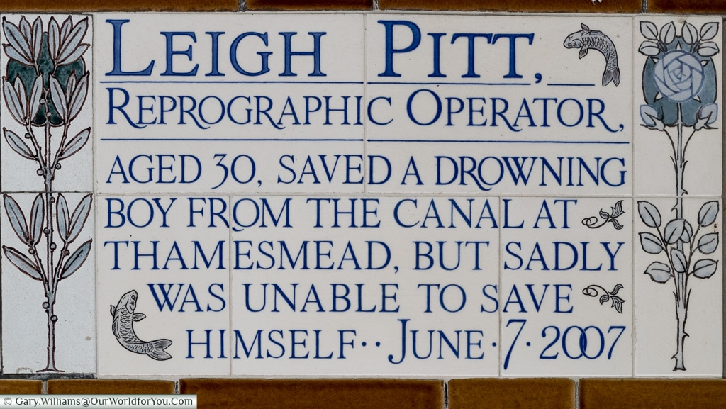 A dedication to Leigh Pitt at the Watts's memorial in the Postman's Park, City of London, UK