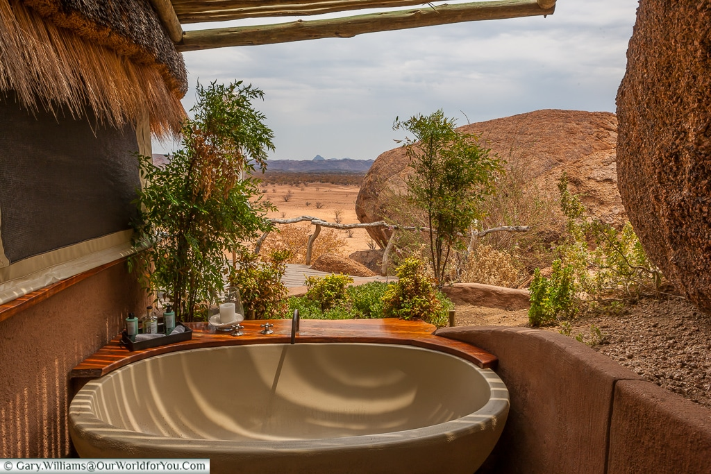 A fresh-air bathtub, Camp Kipwe, Twyfelfontein, Namibia