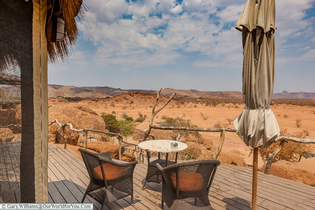 A patio with a view at Camp Kipwe, Twyfelfontein, Namibia