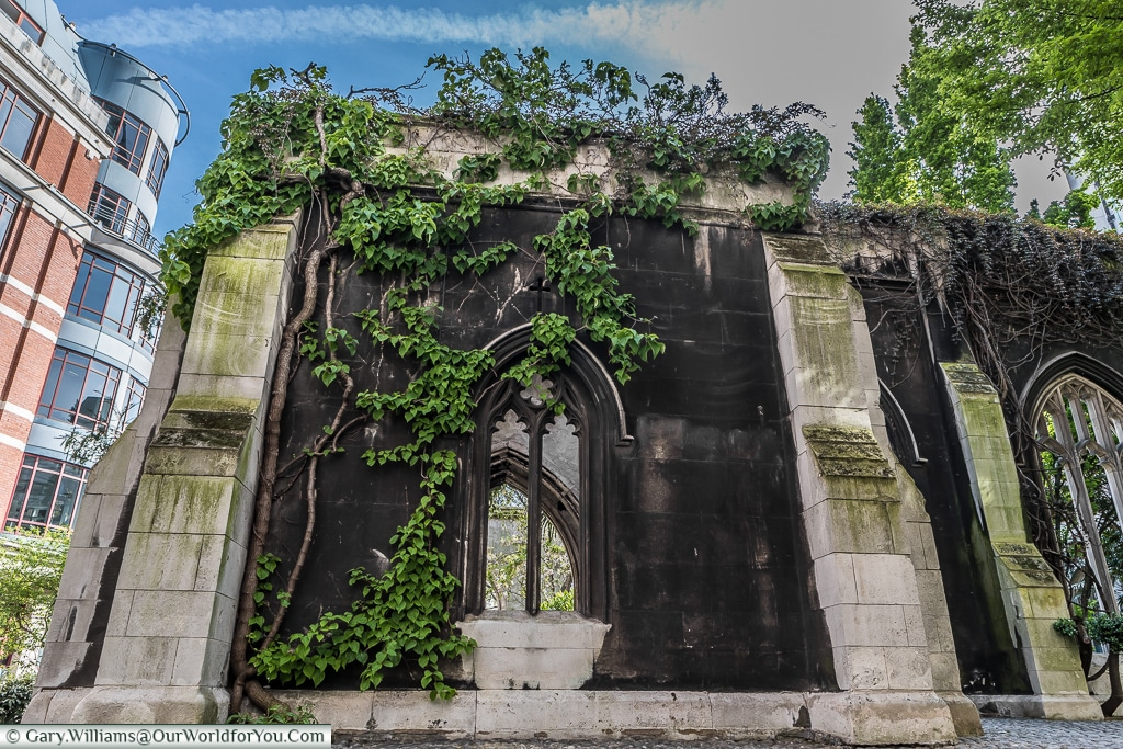 Just the shell left at St Dunstan's in the East, City of London, UK