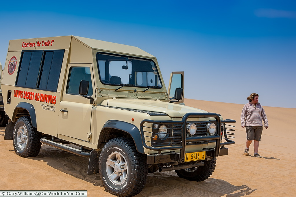 Janis and the Land Rover, Living Desert Adventures, Walvis Bay, Swakopmund, Namibia