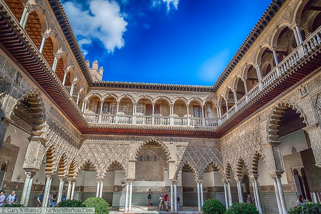 The courtyard of the Alcázar, Seville, Spain