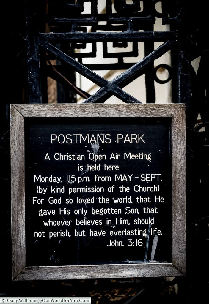 The Postman's park, City of London. UK