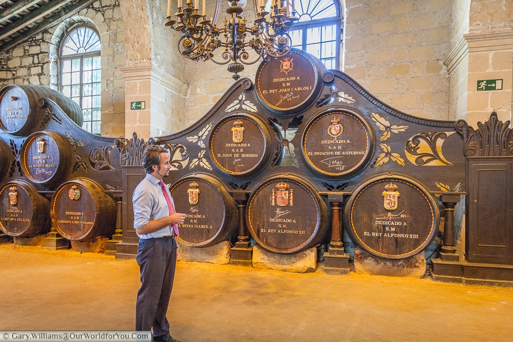 The tour, and the Spanish Royal families barrels, Tio Pepe, Gonzalez Byass, Jerez, Spain